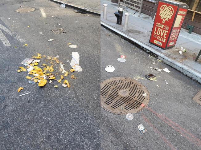 清潔局億元預算被砍一月,紐約市衛生成患,華埠居民清理三小時。(讀者提供)