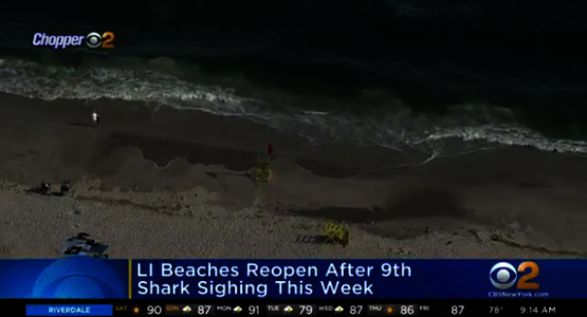長島納蘇郡鯊魚危機1日剛剛解除,再響颶風預警。(取自CBS視頻截圖)