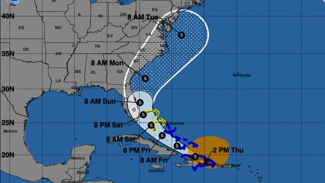 一級颶風伊賽亞斯本周將侵襲紐約,預計大雨和強風將給沿岸地區帶來洪水風險。(國家氣象局提供)