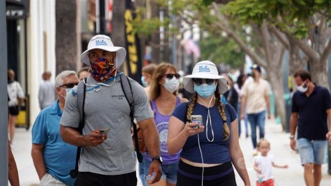 明尼亞波利斯聯準會分行總裁卡斯哈里里2日表示,如果美國「真正認真地封鎖」4至6周,經濟就可能受益。圖為洛杉磯知名景點聖塔蒙尼加海灘徒步區民眾戴口罩逛街。(中央社)