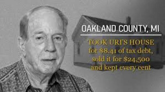密西根州奧克蘭郡退休老人拉斐利計算房產稅時出錯,導致欠稅8.41元,因此被郡政府沒收房產拍賣出售。州最高法院上月裁定,郡政府無權獲取所售房屋的全部收益。(取材自臉書)