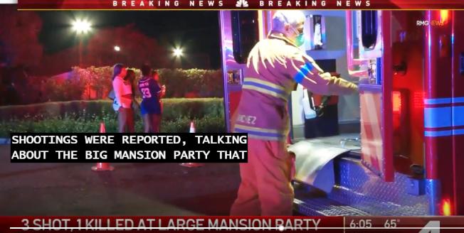 一名女子在比佛利山翠斯特大廈的聚會上中槍,送醫急救後死亡。(NBC視頻截圖)