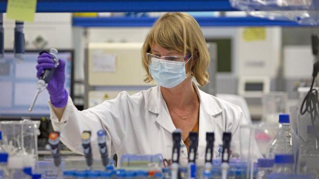 生技大廠嬌生宣布研發的新冠病毒疫苗,成功在猴子身上產生免疫效果。圖為嬌生投資的藥廠Janssen在比利時的疫苗研發實驗室的科學家正在實驗。(美聯社)