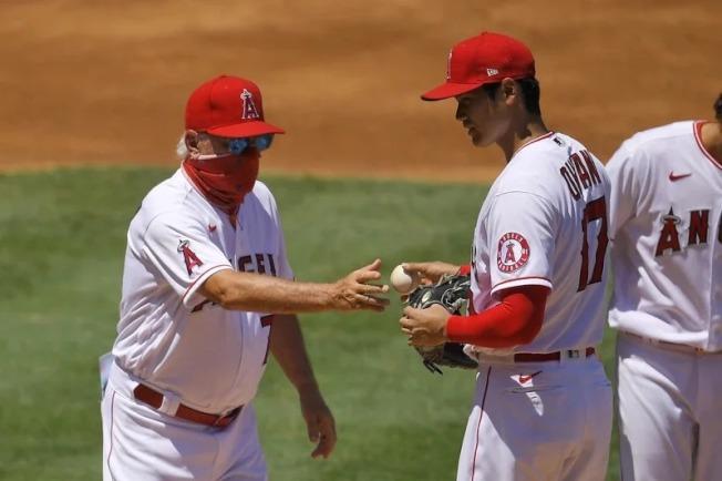 天使總教練麥登(左)指出,本賽季大谷(右)確實可能無法再以投手身份登板。(美聯社)