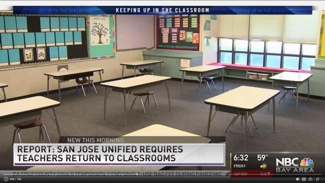 聖荷西聯合學區要求教師下周重回校園授課,引起教師們反彈。(電視新聞截圖)
