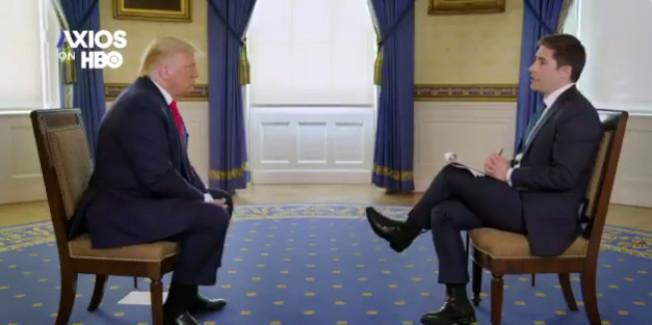 川普總統接受Axios時事網專訪,有問必答,無論答案有多荒腔走板。(Axio/HBO)