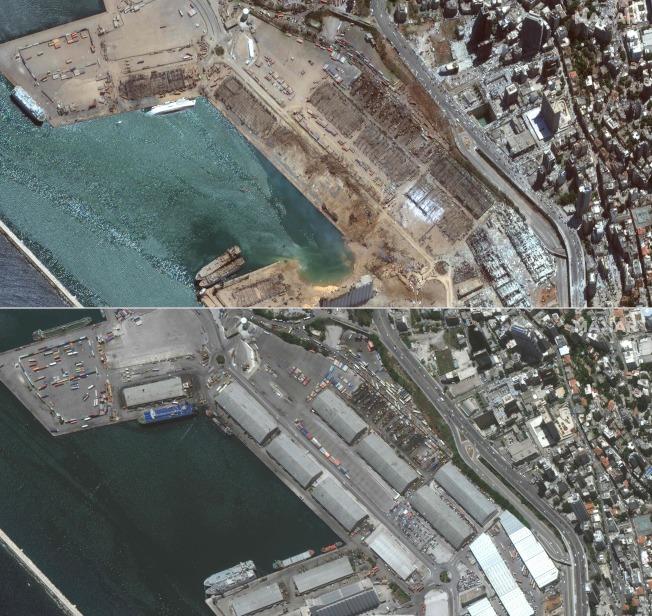 黎巴嫩首都貝魯特市中心附近港區4日發生大爆炸。上圖為爆炸後的景象。下圖為今年6月2日的景象。Getty Images
