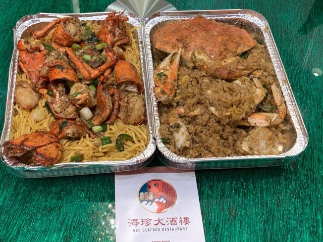888海鮮酒樓推出22元的龍蝦伊麵和30元的螃蟹油飯。(記者張宏/攝影)