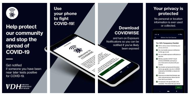 維州推出新冠提醒app「COVIDWISE」,將給可能接觸了新冠確診者的人發手機提醒。(州府提供)