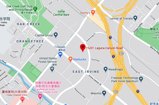 騰訊爾灣辦公室位於爾灣光譜中心,周邊還有許多其它公司,交通也很便捷。(谷歌截圖)