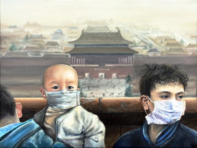 盧琳娜(Linna Lu)的油畫作品「驚嘆」(Breathtaking)獲銀牌獎。(范新林提供)