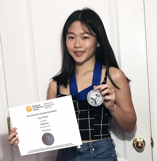 盧琳娜以油畫作品「驚嘆」(Breathtaking)獲銀牌獎。(范新林提供)