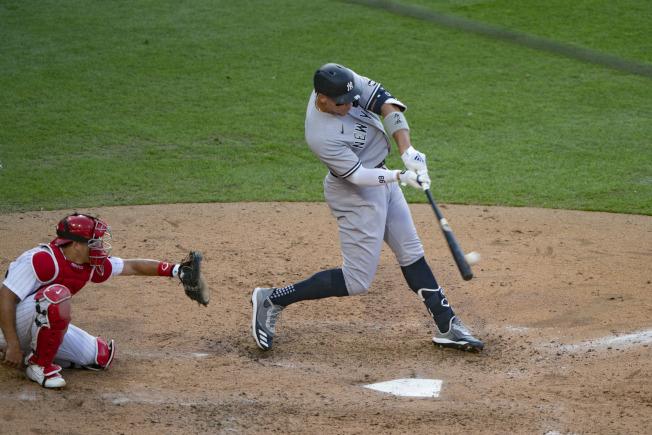 賈吉敲出領先聯盟的第7轟,洋基開季連續11戰開轟、合計23轟也雙雙改寫隊史紀錄。(路透)