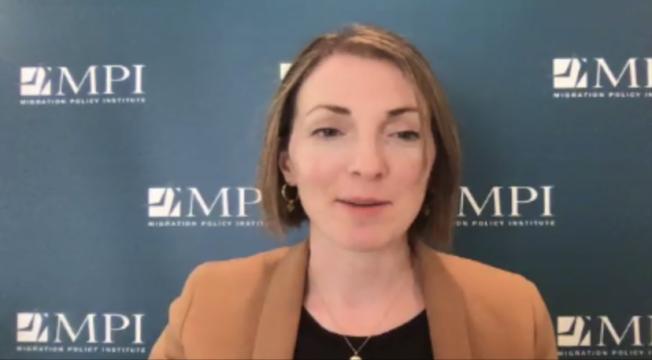 移民政策研究所(Migration Policy Institute)政策分析師Sarah Pierce 。(截圖自線上論壇)