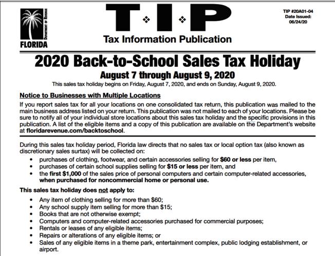 佛州稅務廳的返校免稅州說明。(取自稅務廳網頁)