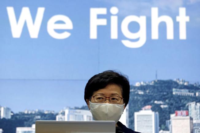 香港特區行政長官林鄭月娥稱,她代表被制裁的官員表示,維護國家安全是榮譽的任務。(美聯社)
