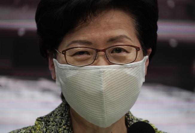 名列美國政府制裁名單的香港行政長官林鄭月娥,今天在臉書貼文:「既然本人並不嚮往到這個國家,看來也可主動註銷了」。(美聯社)
