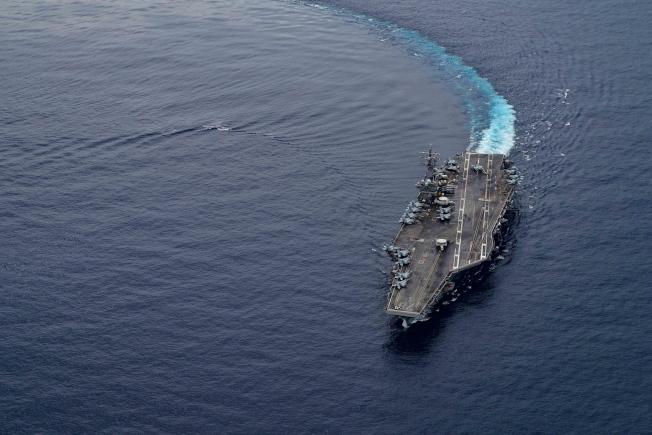 美國核動力航空母艦「雷根號」。(歐新社)