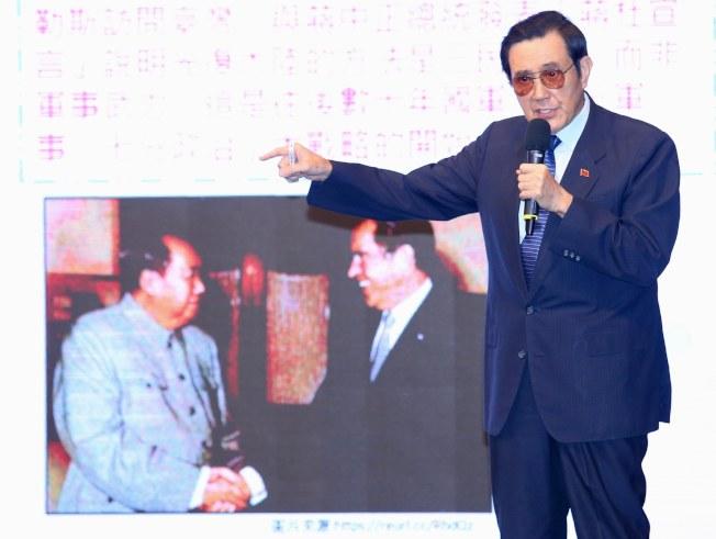 中華民國前總統馬英九今天出席台北扶輪社東區系統八社聯合例會,發表「兩岸關係與台灣安全」演講。記者林伯東/攝影