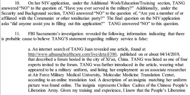 起訴文書列明數個證據,指稱唐娟有軍人身分。(取自聯邦司法部官網)