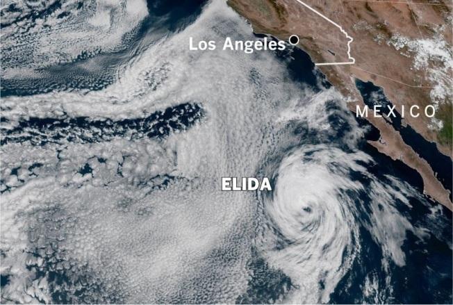熱帶風暴艾利達仍離勝地牙哥700哩遠。(國家氣象局)