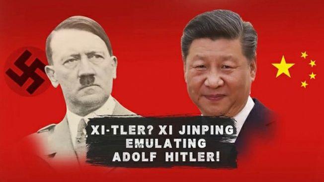 印度媒體拿習近平與希特勒做比較,激怒北京,中國駐印度大使館稱,「不刪影片將有嚴重後果」。(視頻截圖)