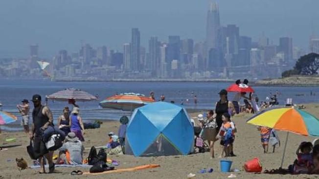 灣區14日周五受熱浪侵襲,多個地區的氣溫都接近110度。(Getty Images)