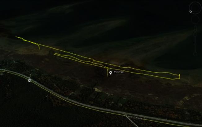 美國密西根州環保部門13日發布遭白頭海鵰攻擊的官方無人機軌跡圖。畫面翻攝:Michigan.gov/mienvironment