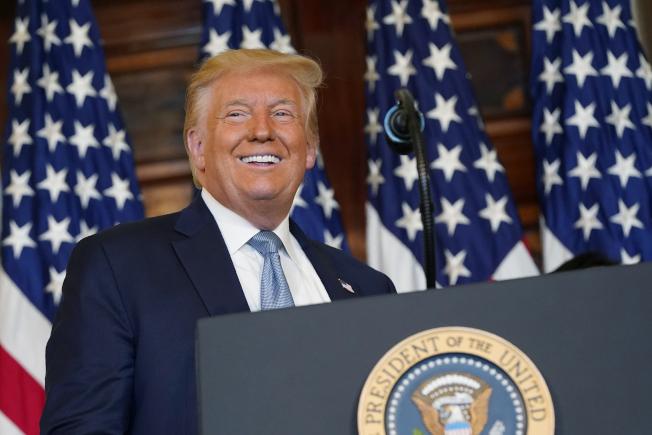 川普總統自稱是唯一實際作為比競選政見還要更多的候選人。(美聯社)