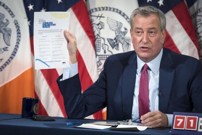 白思豪表示,紐約市仍是復課地區中防疫最為嚴格的城市之一。(市長辦公室提供)