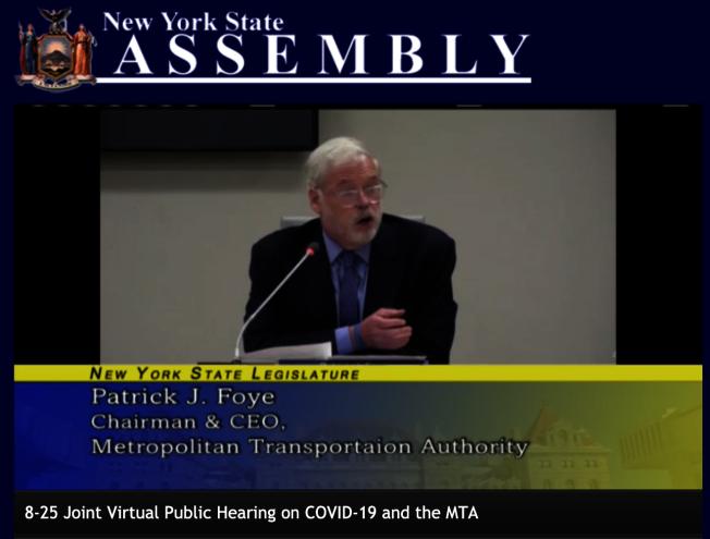 費伊在州議會線上公聽會上發言。(視訊公聽會截圖)