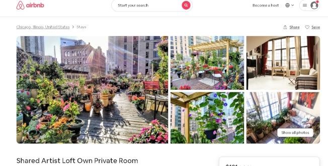 芝加哥居民透過Airbnb出租自家房屋。(Airbnb網站)
