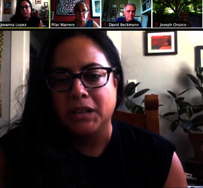 飢餓和環保主義者Jovanna Lopez呼籲當地政府須採取行動。(視頻會議截圖)