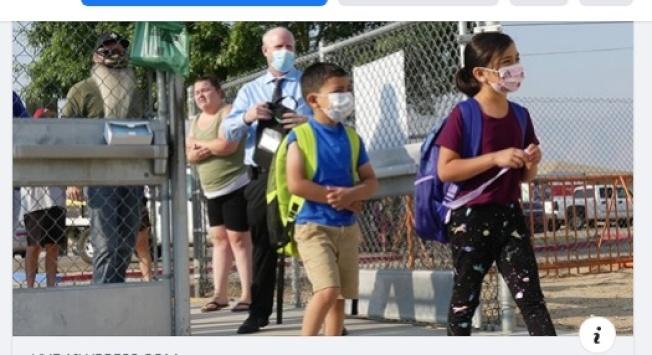 聖伯納汀諾縣Lucerne Valley聯合學區小學獲批學生返校採取混合式教學。(學區臉書)