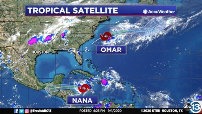 熱帶風暴Nana和Omar都已形成。(ABC13截圖)