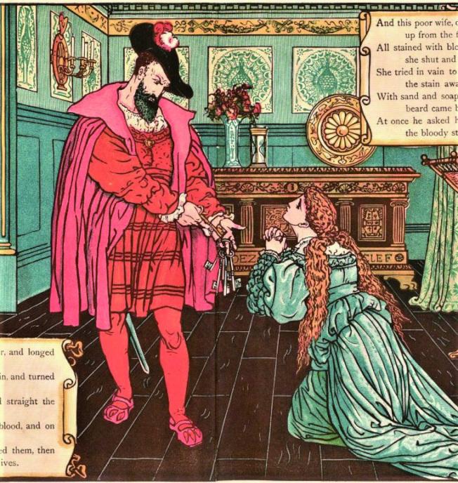 藍鬍子發現鑰匙上的血跡,妻子懇求寬恕。(Walter Crane, 1845-1915)(薛維.圖片提供)