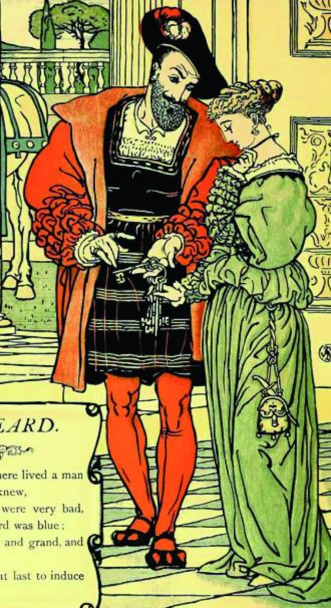 藍鬍子出門前交給妻子一把鑰匙。(Walter Crane, 1845-1915)(薛維.圖片提供)