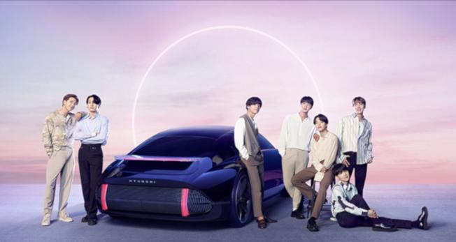 圖為BTS防彈少年團,代言現代汽車新IONIC。