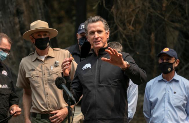 加州州長紐森宣布多縣進入緊急狀態,並關閉所有國家森林公園。(美聯社)
