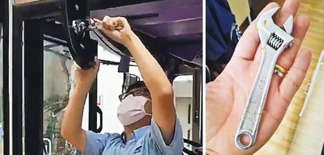 新巴司機表示,巴士在車廠清洗期間可能令兩側照後鏡移位,因此有些司機習慣自備扳手調校。(圖:新巴職工會提供)