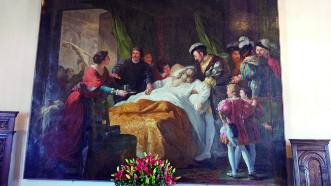 昂布瓦斯城堡內的達芬奇臨終畫。(爾雅.圖片提供)