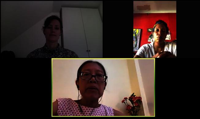 紐約移民聯盟英語學習生和他們的移民家庭在復課準備和復課後面臨的困難進行討論。(視訊會議截圖)