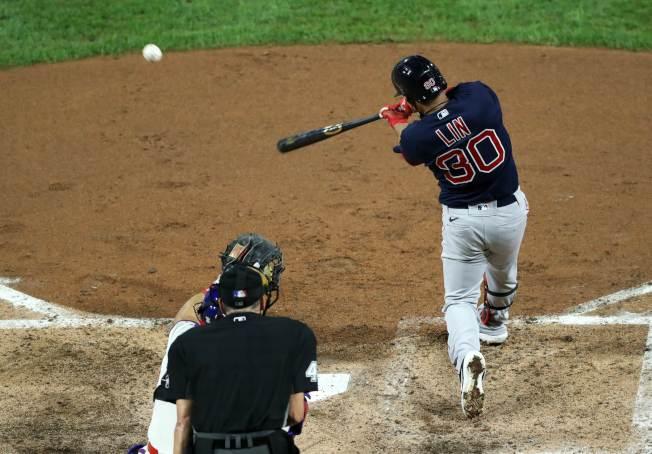 林子偉任先發第8棒,生涯首度守右外野,總計3打數2安打是本季首場雙安比賽。 (Getty Images)
