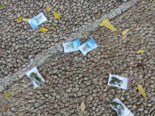 以色列發生一起「天降大麻」事件,一架無人機在特拉維夫市拉賓廣場空頭數百包裝有大麻的塑膠袋,引起當地民眾瘋搶。(路透)